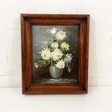 Vintage Framed Floral Original Painting Art White Daisies Flower Wood Frame Painted 3D Amateur Painter Hobbyist Hobby Wall Decor by CheckEngineVintage