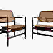 RARE Mid Century Modern CANED rattan ARMCHAIRS, a Pair by CIRCA60