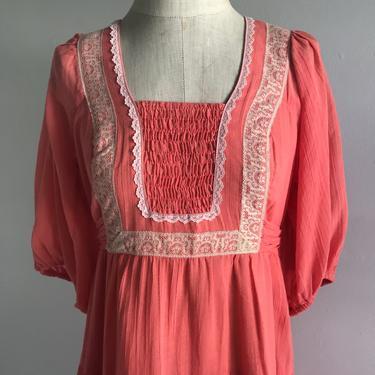 1970s Coral and Cotton Gauze and Lace Prairie Dress Small 32 Bust Vintage Lolita PrairieCore Farm Core by AmalgamatedShop