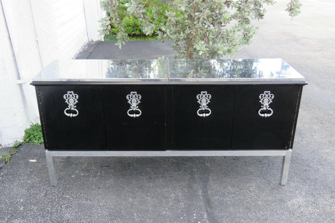 Hollywood Regency Painted Black Sideboard Buffet Server Console 1322