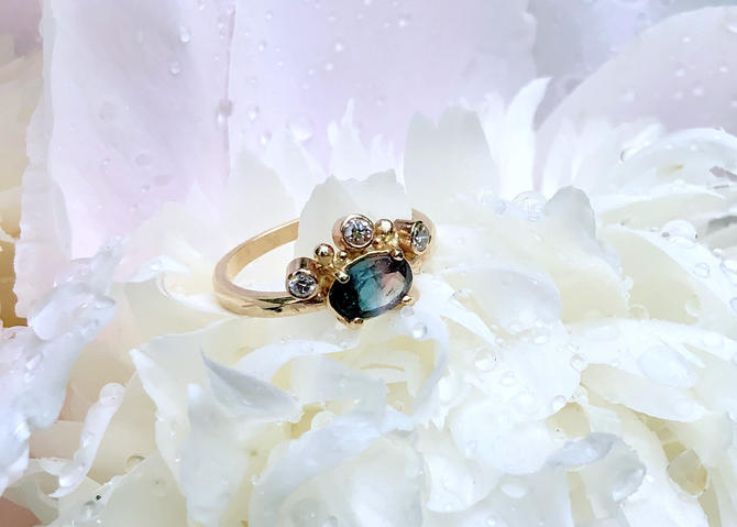Bi Color Tourmaline Peacock Ring with Diamond Crown in 14k Gold Handmade One of a Kind Engagement Ring by RachelPfefferDesigns