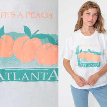 Georgia Peach Shirt Atlanta Shirt Graphic Tee Tshirt Single Stitch Shirt Vintage 80s Tshirt Paper Thin Retro T Shirt 1980s Medium by ShopExile