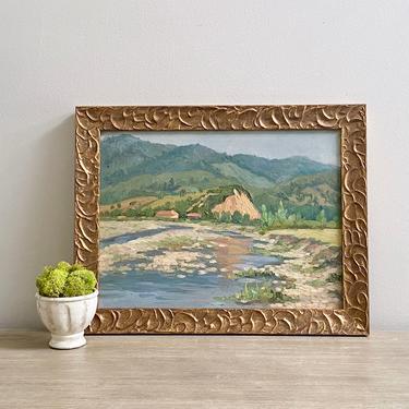 Vintage Landscape Oil Painting European En Plein Air River Lake Scene by ModRendition