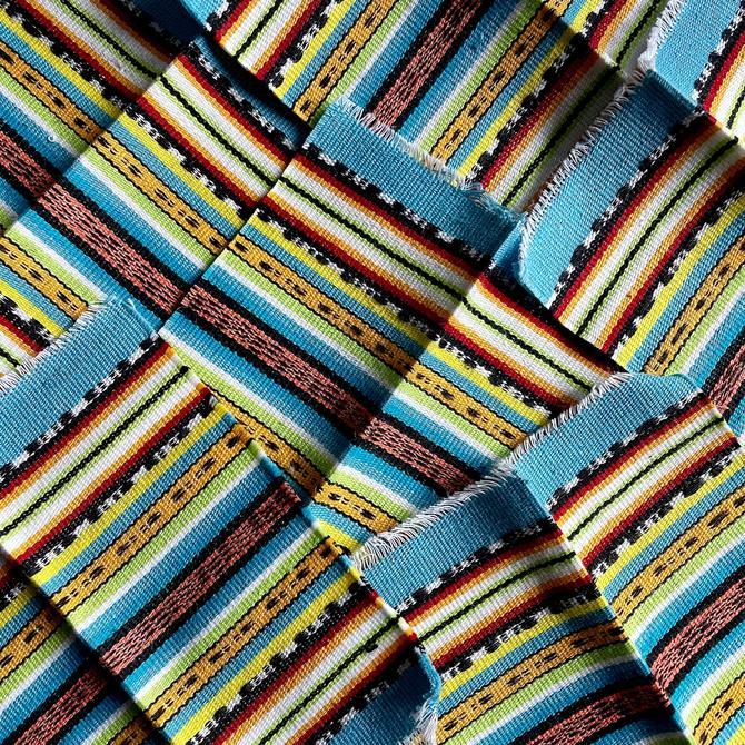 6 Vintage Woven Cotton Saltillo Serape Fabric Coasters - Turquoise Blue, Boho, All Cotton, Mexican, Boho Style, Striped, Coastal Beach Decor by VenerablePastiche