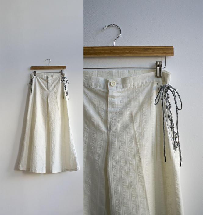 1970s White Sailor Pants / 1970s White Bell Bottoms / Vintage Cotton Bells / Vintage Cotton Bell Bottoms / Vintage Sailor Pants 29 x 31 by milkandice