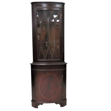 Vintage Wooden Cabinet   English Inlaid Mahogany Corner Cabinet With Glass Fretwork Door by PickeryPlace