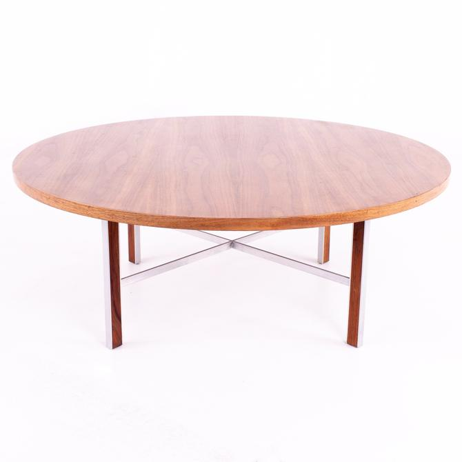Paul McCobb for Calvin Linear Group Mid Century Round Walnut and Stainless Coffee Table - mcm by ModernHill