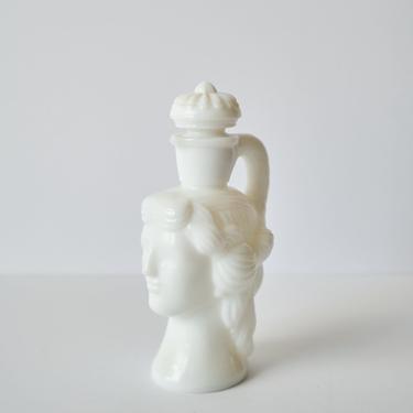 Vintage Avon Grecian Head / Lady Head Milk Glass Oil Bottle / Perfume Bottle by ShopLantanaLane