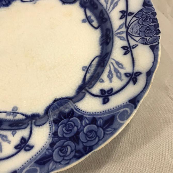 Flow Blue Transferware Plate Art Nouveau Roses Vintage Staffordshire England by accokeekpickers