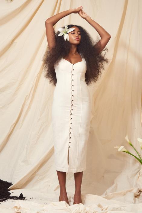 Angelica Dress in Natural Denim Cotton