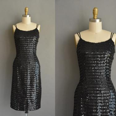 50s bombshell jet black sparkly full sequin vintage cocktail party wiggle dress Small Holiday 50s vintage 1950s full sequin party dress by simplicityisbliss