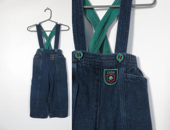 Vintage 80s/90s Izod Denim Suspender Jeans Size 18M by VelvetCastleVintage