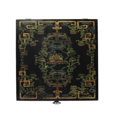 Chinese Distressed Black Lacquer Treasure Symbol Graphic Square Box cs5661E by GoldenLotusAntiques
