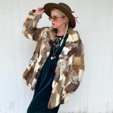 Vintage Patchwork Rabbit Fur Coat 1970s Hippie Jacket 70s Clothing by LoveItShop