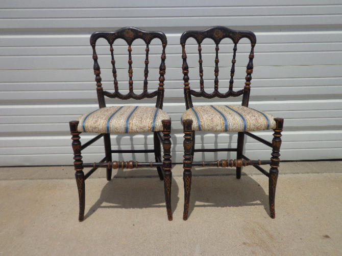 2 Antique Chiavari Chairs Italian Pair of Chairs Regency Dining Chairs Chinoiserie Dining Wood Chair Seating Coastal Chic Set Hand Painted by DejaVuDecors