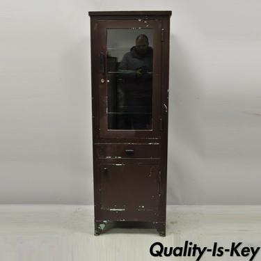 Vintage American Industrial Steel Metal Narrow Medical Dental Bathroom Cabinet