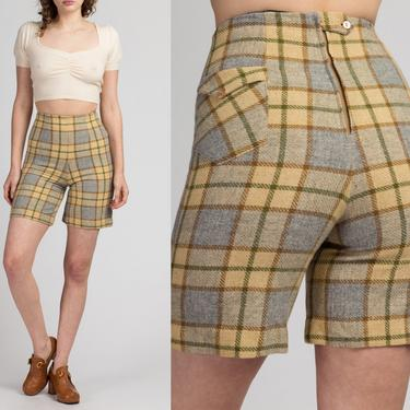 """60s 70s Plaid High Waisted Shorts - Extra Small, 25"""" 