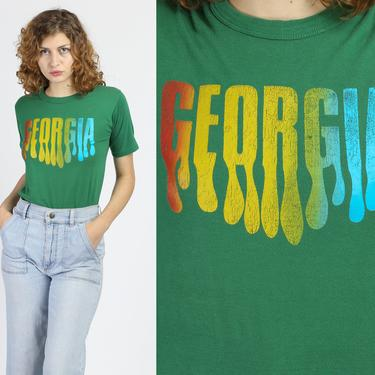 Retro 80s Georgia Graphic Tourist Tee - Small to Medium   Vintage Green Souvenir T Shirt by FlyingAppleVintage