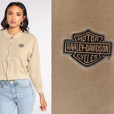 Harley Davidson Sweatshirt 00s Cropped Shirt Zip Up Biker Shirt Crop Top Motorcycle Shirt Vintage Graphic Tan Long sleeve Shirt Medium by ShopExile