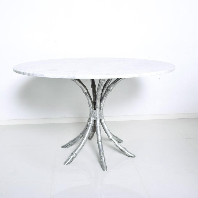 Hollywood Regency Faux Bamboo in Aluminum Pedestal Table with Marble Top by AMBIANIC