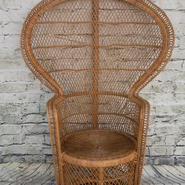 SHIPPING NOT FREE! Vintage Clam Shell Style Peacock Chair/ Wicker Peacock Chair (2) by WorldofWicker