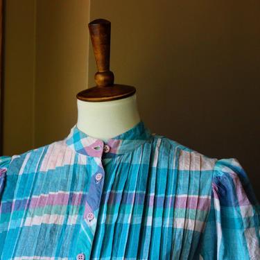 Cotton Matti Sport 80's Pastel Plaid Prairie Dress by Ferngodvintage