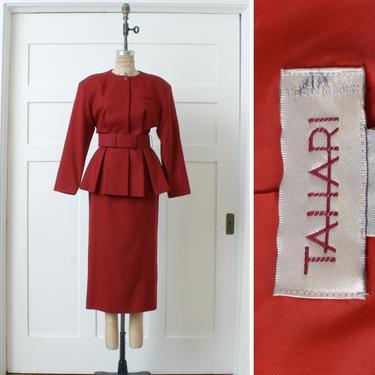 1990s designer vintage suit • Tahari red wool peplum jacket & pencil skirt belted dress suit by LivingThreadsVintage