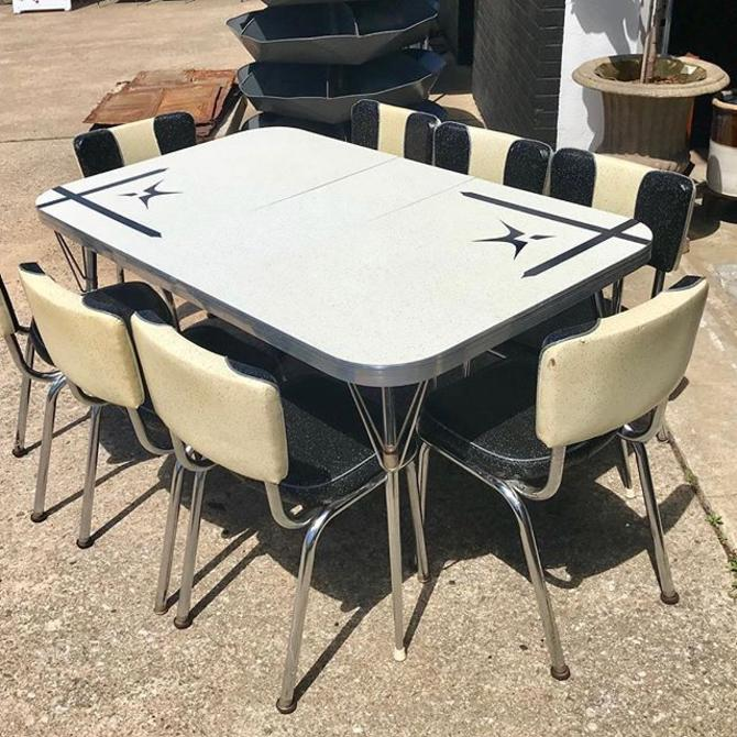 Retro Formica And Chrome Expandable Diner Table Together With 8