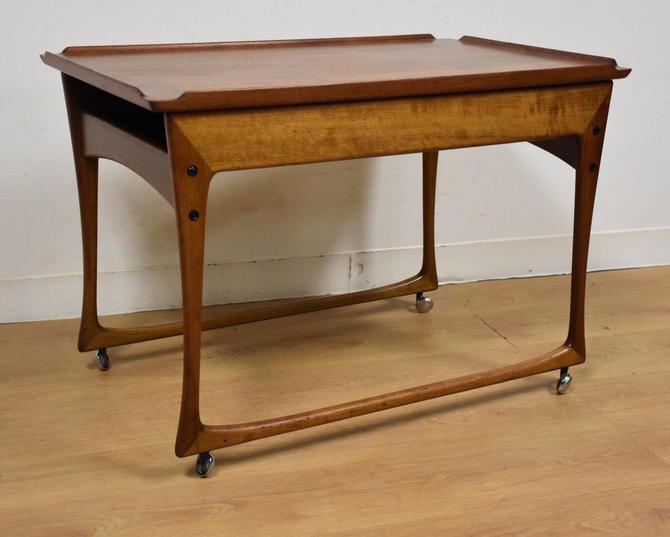 Ingvard Jensen Rolling Teak Bar Cart by mixedmodern1
