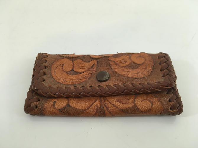Vintage Stamped Leather Key Wallet Key-tainer Brown Keys Holder Wallet Organizer Case Handy USA Flowers Acorns Leaves Flower Floral Tooled by CheckEngineVintage