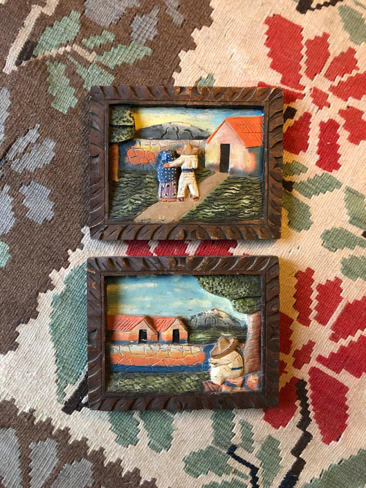 1970s Hand-Carved, Hand Painted Mexican Folk Art Wall Hangings- set of 2 size 8x10 by VeeVintageShop