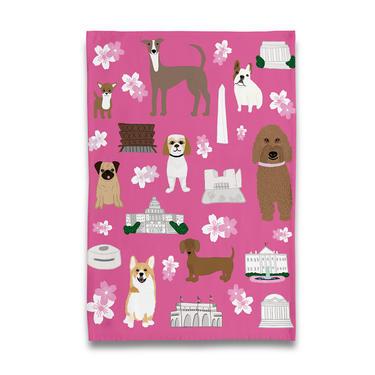 Cherry Blossom Puppies Tea Towel