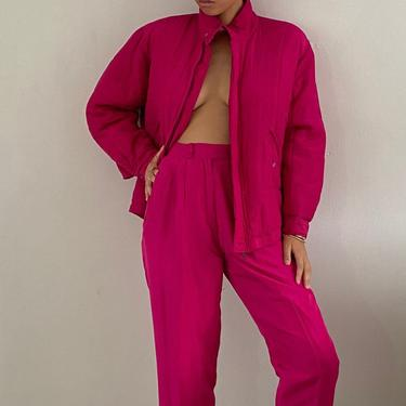 90s silk tracksuit pant suit / vintage fuchsia hot pink silk oversized track suit set / bomber jacket high waisted pants | S M by RecapVintageStudio