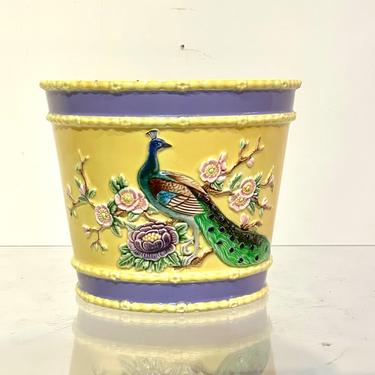 Vintage Eichwald Majolica Pottery Flower Pot featuring Peacock and Flowers design by XcapeVintage