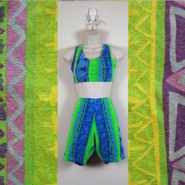 Vintage 90s Neon Spandex Workout & Aerobics Set by GuavaNectarVintage