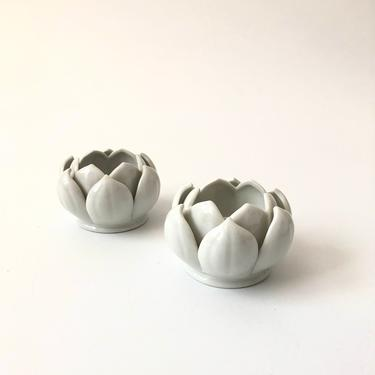 Pair of Ceramic Lotus Candle Holders by SergeantSailor