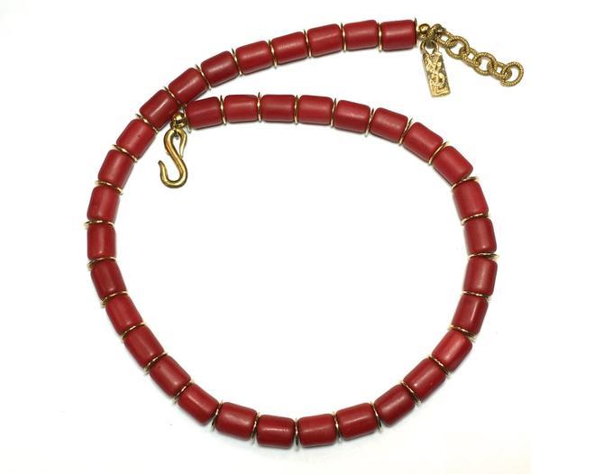 fc73b163442 80s Yves Saint Laurent | Red Handmade Bead Necklace | YSL by  GlennasVintageShop