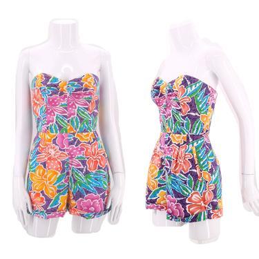 80s tropical print cotton romper S  / vintage 1980s LIZSPORT overalls romper shorts summer one piece jumpsuit 6 by ritualvintage