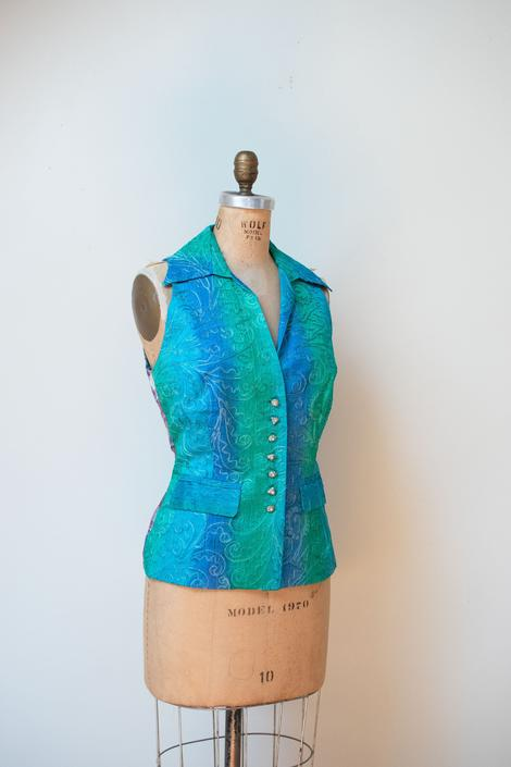 1990s Ombre + Madras Vest   Todd Oldham by FemaleHysteria