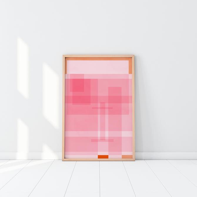 Pink Art, Orange you Pinky, Art Print,  Feminine Art, Nursery Art, Cubicle decor, Geometric Art Print by VioletredStudio