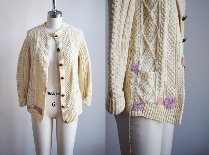 Classic Vintage 1970s Wool Cable Knit Cardigan with Darns | XS | Fishermans Sweater | Aran Knit with Visible Mends by wemcgee