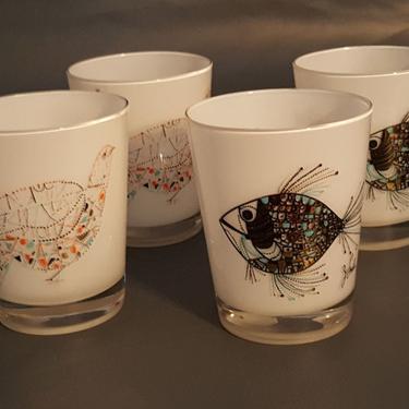 4 Vintage Milk Glass J Snyder Fish Mid Century Modern Bar Glasses by MarquisModern