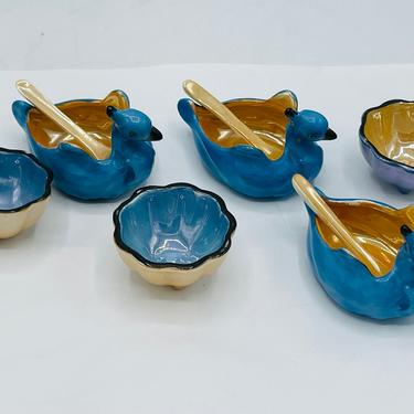 Noritake 1930s Swan Open Salt Cellar & Original Spoon Porcelain Lusterware 9 Pieces- Excellent by JoAnntiques