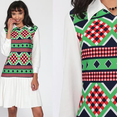 60s Mod Dress Mini Geometric SCOOTER 1960s Drop Waist Pleated Checkered Print Vintage Long Sleeve 70s Twiggy Green White Gogo Collar Medium by ShopExile