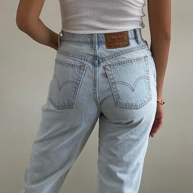 80s Levi's high waisted jeans / vintage Levis 551 light wash faded cropped tapered leg jeans / Levis mom jeans made in USA   28 W by RecapVintageStudio