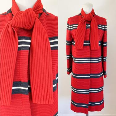 Vintage 1960s Red Striped Wool Coat / S by MsTips