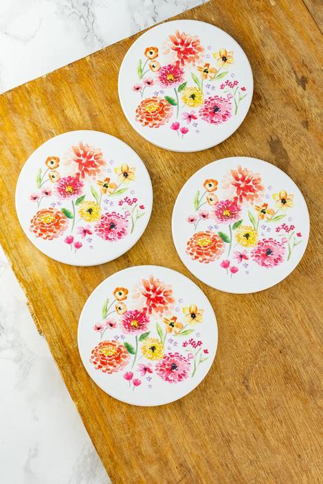 Cottage Floral Coasters - Set of 4