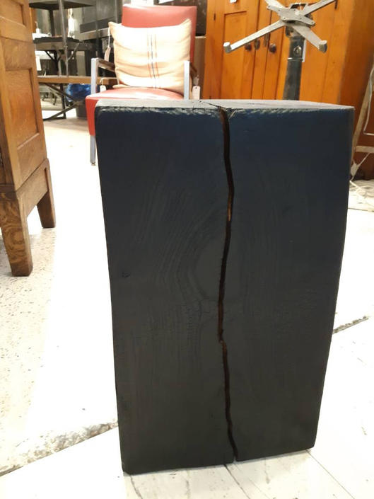 Charred ash side table by StateStreetSalvage