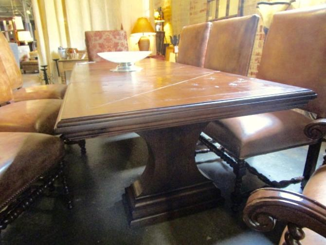 LARGE PEDESTAL DINING TABLE IN WALNUT WITH TWO EXTENSIONS