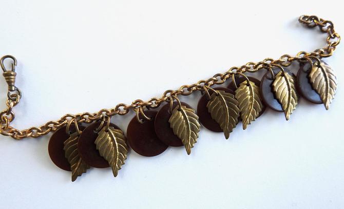 1930s Bakelite Discs and Brass Leaves Bracelet by LegendaryBeast